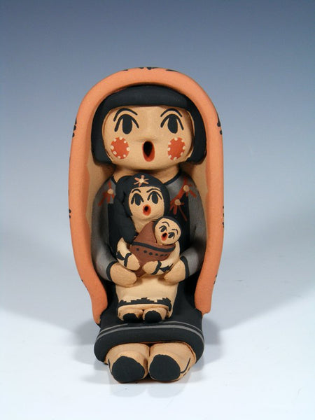 Jemez Pueblo Pottery Baby With Doll Storyteller Doll
