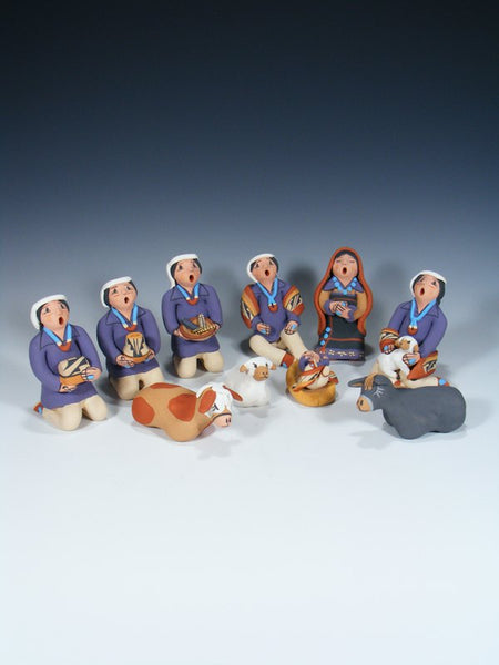 10 Piece Jemez Pueblo Hand Painted Pottery Nativity Set