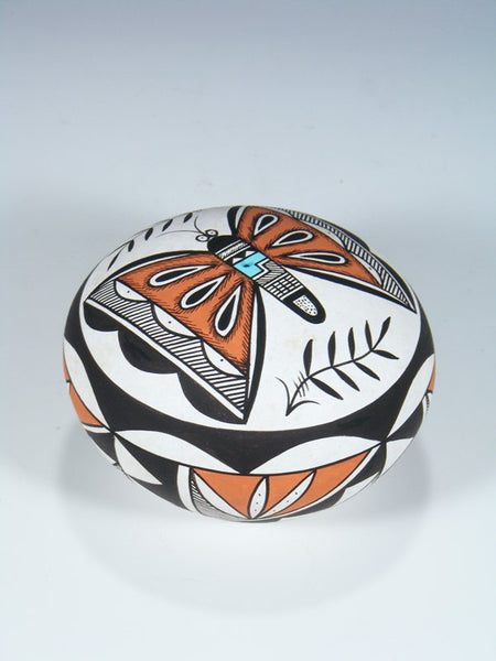 Acoma Pueblo Butterfly Hand Coiled Pottery Seed Pot