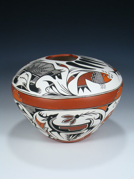 Acoma Pueblo Pottery Hand Painted Seed Pot