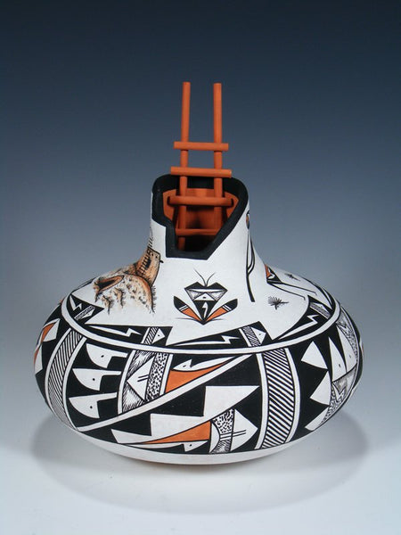 Painted Acoma Pueblo Scene Pottery With Ladder