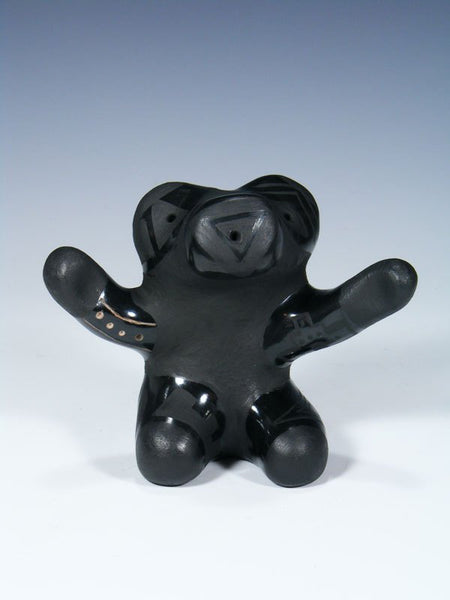 Santa Clara Hand Coiled Black Pottery Bear