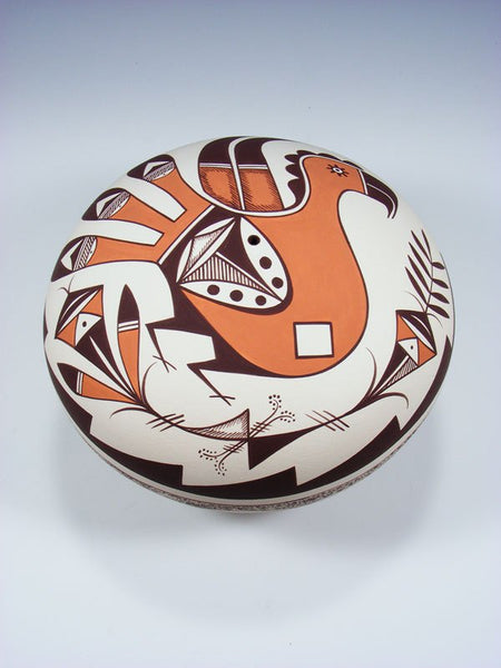Acoma Style Hand Coiled Pottery Parrot Seed Pot