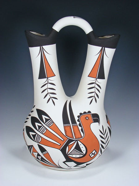 Acoma Style Hand Coiled Parrot Pottery Wedding Vase