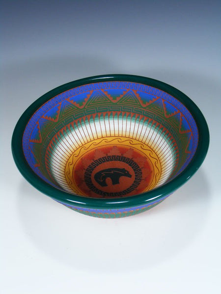 Navajo Etched Bear Pottery Display Bowl