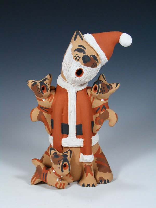 Jemez Pueblo Pottery Storyteller Santa Dog Family