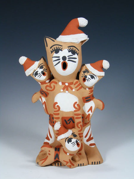 Jemez Pueblo Pottery Storyteller Santa Cat Family