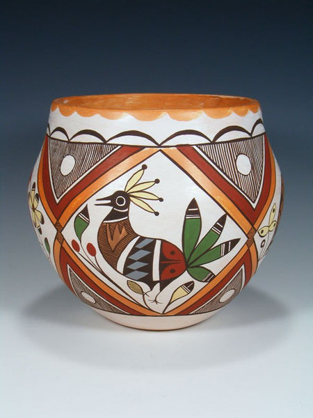 Hand Coiled Acoma Pueblo Bird Pottery Bowl