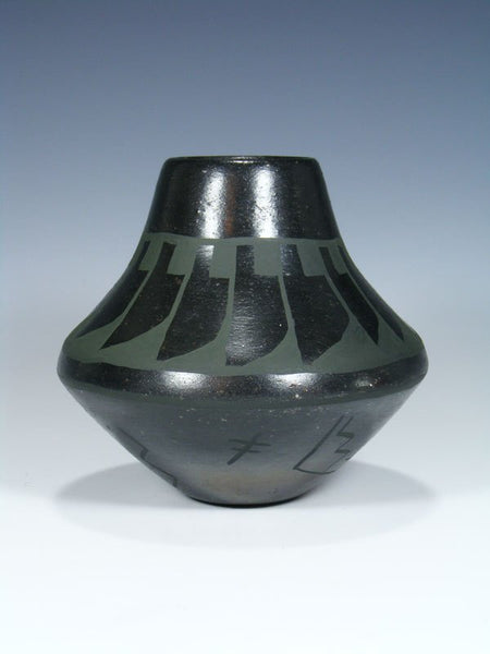 San Ildefonso Pueblo Hand Coiled Black Pottery Vase