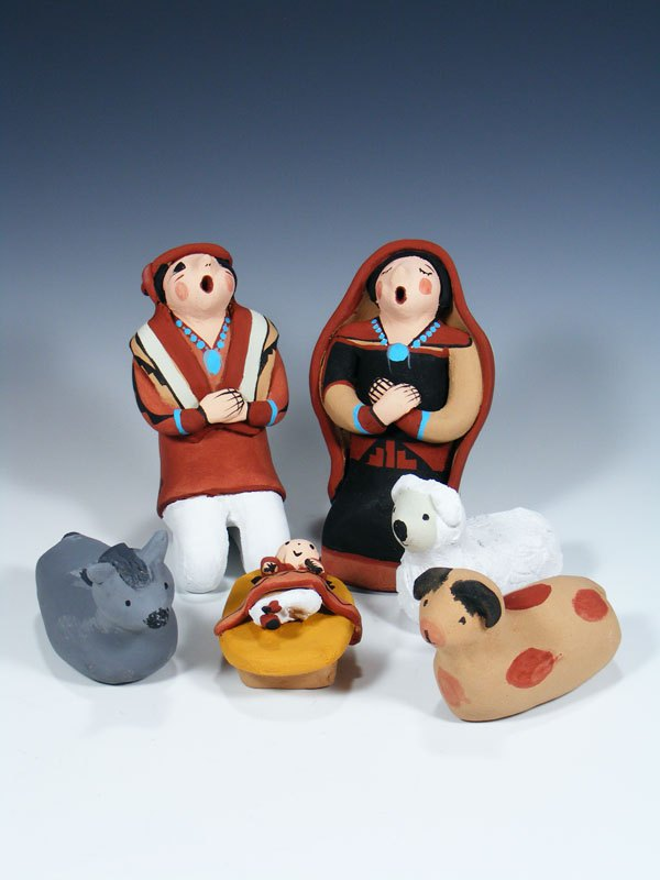 6 Piece Jemez Pueblo Pottery Nativity Set