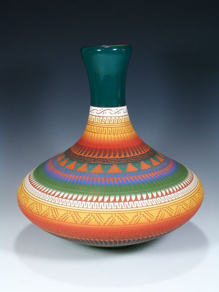 Large Navajo Etched Pottery Genie Vase