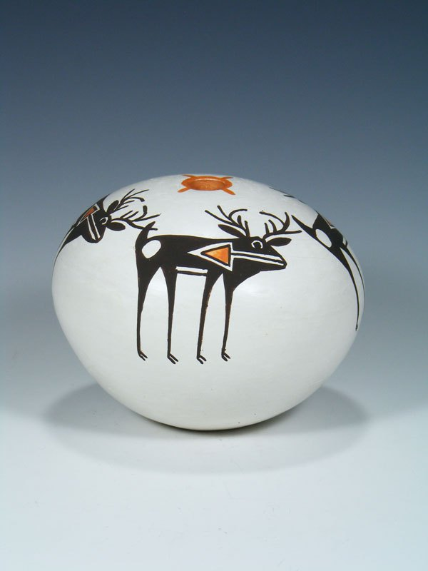 Acoma Pueblo Heartline Deer Hand Coiled Seed Pot