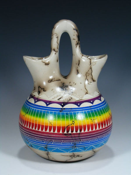 Rainbow Etched Horsehair Pottery Painted Wedding Vase