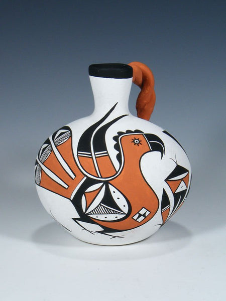 Acoma Pueblo Pottery Painted Parrot Canteen