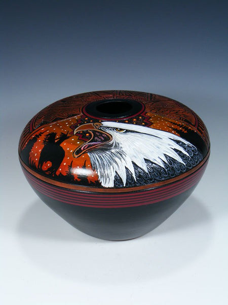 Navajo Etched Eagle Hand Painted Pottery Seed Pot