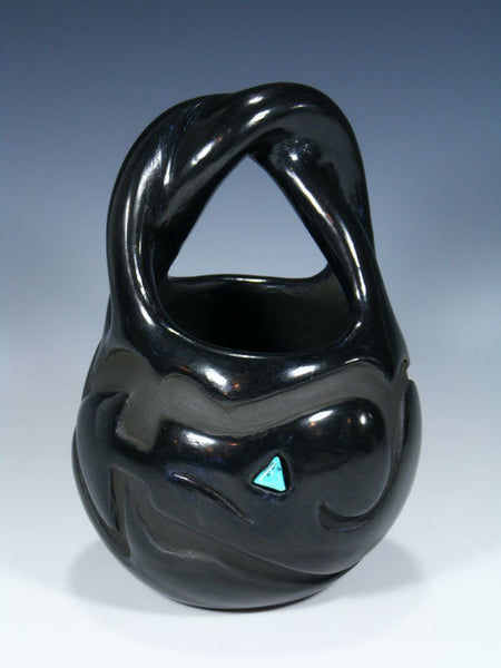 Santa Clara Hand Coiled Black Pottery Wedding Basket