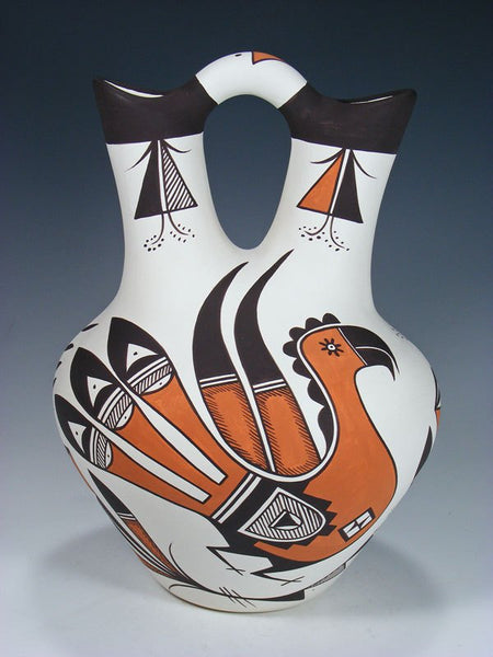 Acoma Style Parrot Pottery Painted Wedding Vase