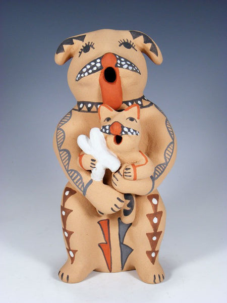 Jemez Pueblo Pottery Storyteller Dog Family