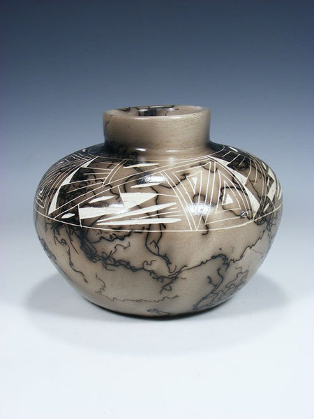 Etched Navajo Horsehair Pottery Bowl