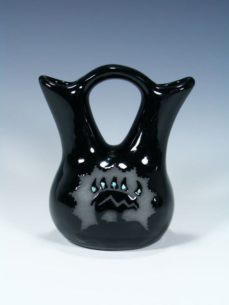 San Juan Pueblo Black Pottery Wedding Vase