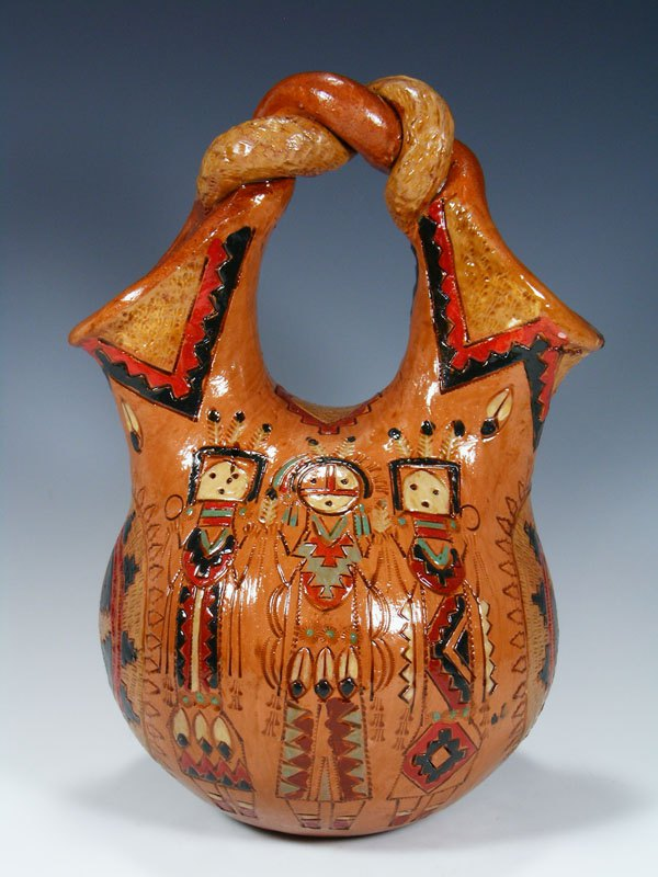 Navajo Hand Coiled Pine Pitch Carved Pottery Wedding Vase