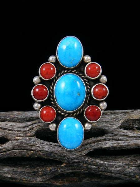 Natural Sterling Silver Turquoise and Coral Ring, Size 10
