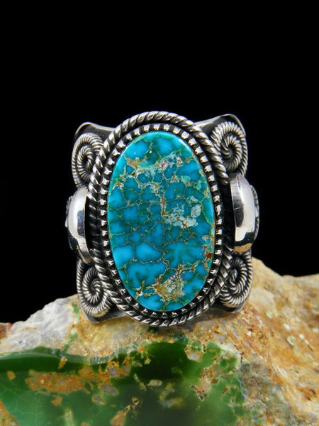 Navajo Natural Royston Turquoise Sterling Silver Ring Size 9.5