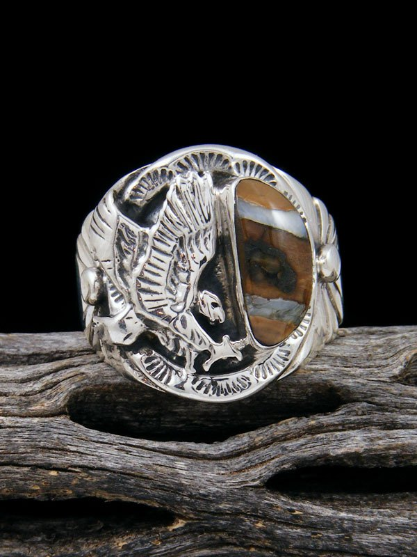 Fossilized Mammoth Tooth Eagle Ring, Size 11
