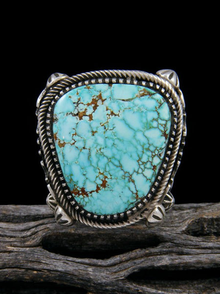 Natural #8 Turquoise Adjustable Ring, Size 9 1/2 - 10 1/2