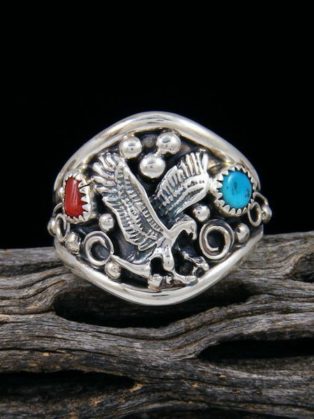 Navajo Sterling Silver Turquoise and Coral Eagle Ring