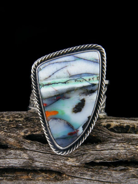 Navajo Tufa Cast Opalized Petrified Wood Ring Size 9