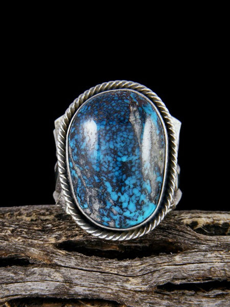 Navajo Tufa Cast Natural Cloud Mountain Turquoise Ring Size 7.5