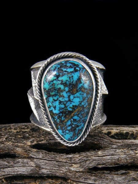 Navajo Tufa Cast Natural Cloud Mountain Turquoise Ring Size 10