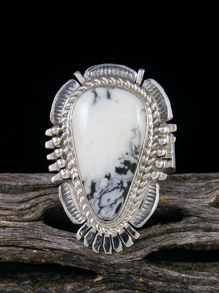 Native American White Buffalo Ring, Size 8