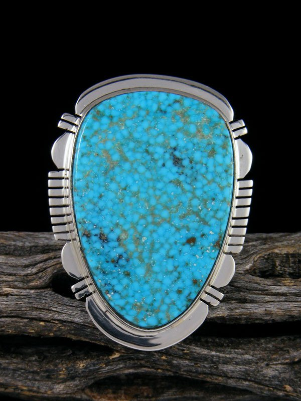 Native American Kingman Turquoise Ring, Size 8 1/2