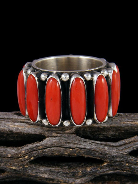 Natural Coral Sterling Silver Ring, Size 12 1/2