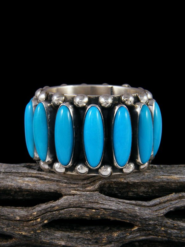 Sleeping Beauty Turquoise Sterling Silver Ring, Size 13