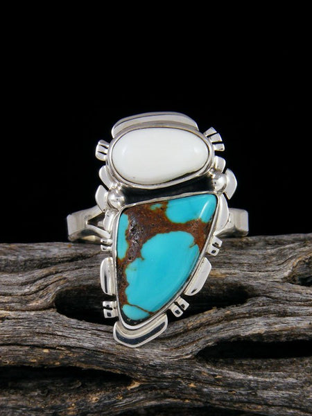 Royston Turquoise and White Buffalo Ring, Size 9