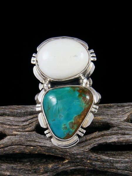 Royston Turquoise and White Buffalo Ring, Size 8