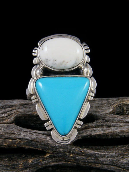 Kingman Turquoise and White Buffalo Ring, Size 7