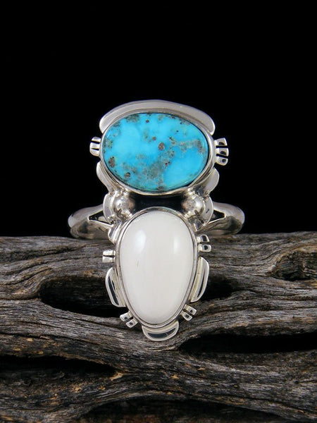 Kingman Turquoise and White Buffalo Ring, Size 8 3/4