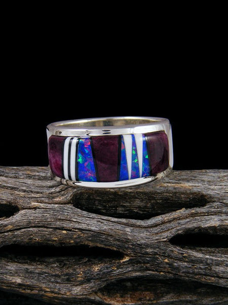 Spiny Oyster Inlay Ring, Size 8 1/2