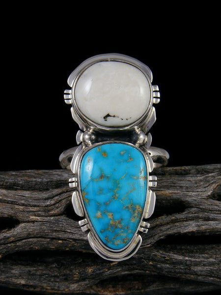 Kingman Turquoise and White Buffalo Ring, Size 9