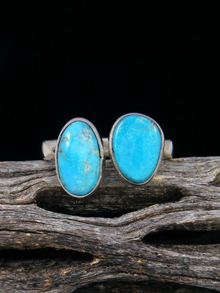 Adjustable Kingman Turquoise Ring, Size 8 - 9
