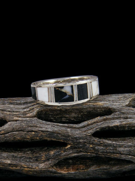 White Buffalo Inlay Ring, Size 6