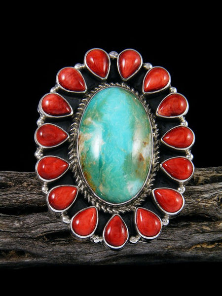Adjustable Spiny Oyster and Turquoise Cluster Ring, Size 7 1/2