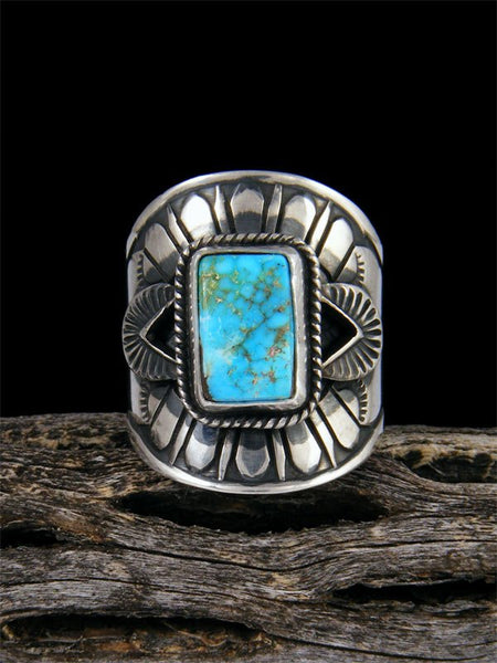 Kingman Turquoise Sterling Silver Ring, Size 9
