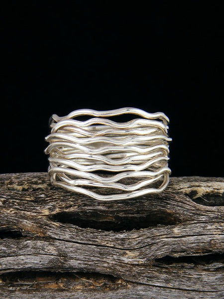 Navajo Sterling Silver Sculpted Wire Ring Size 8