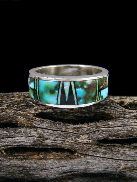 Fiery Opal and Turquoise Inlay Ring, Size 8 3/4