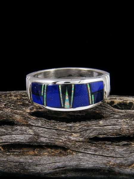Blue Lapis Inlay Ring, Size 11